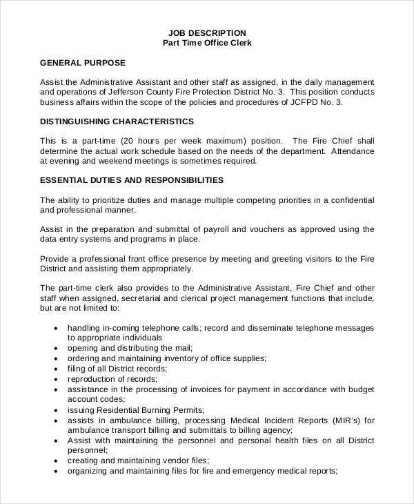 Ordinaire Job Description For Part Time Office Clerk