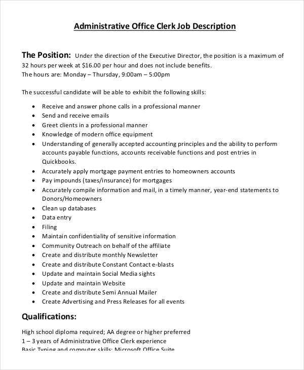 10 office clerk job descriptions pdf doc free - Office administration executive job description ...