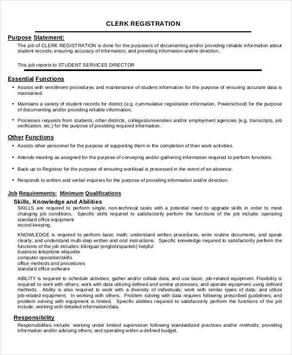 Office Clerk Registration Job Description Template Download
