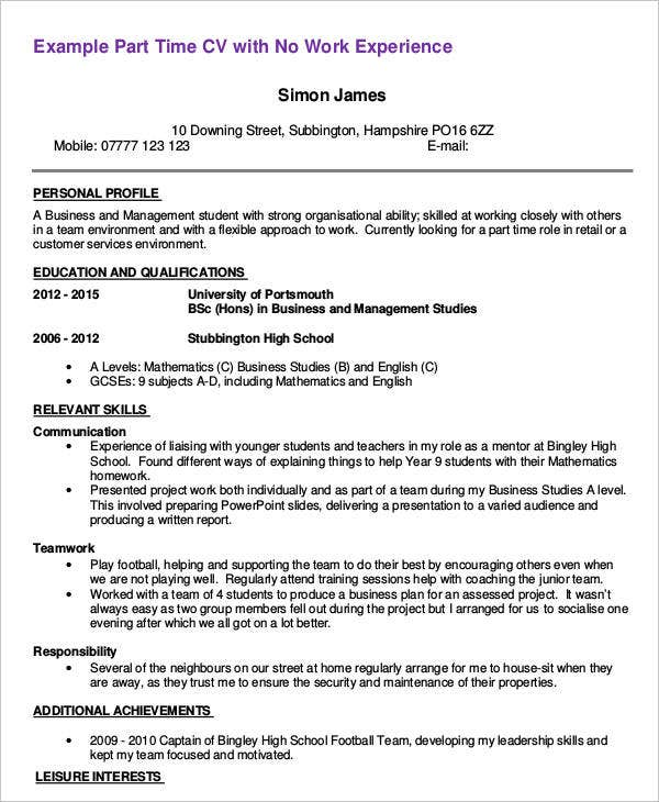 First Part Time Job Resume Sample  First Resume No Work Experience