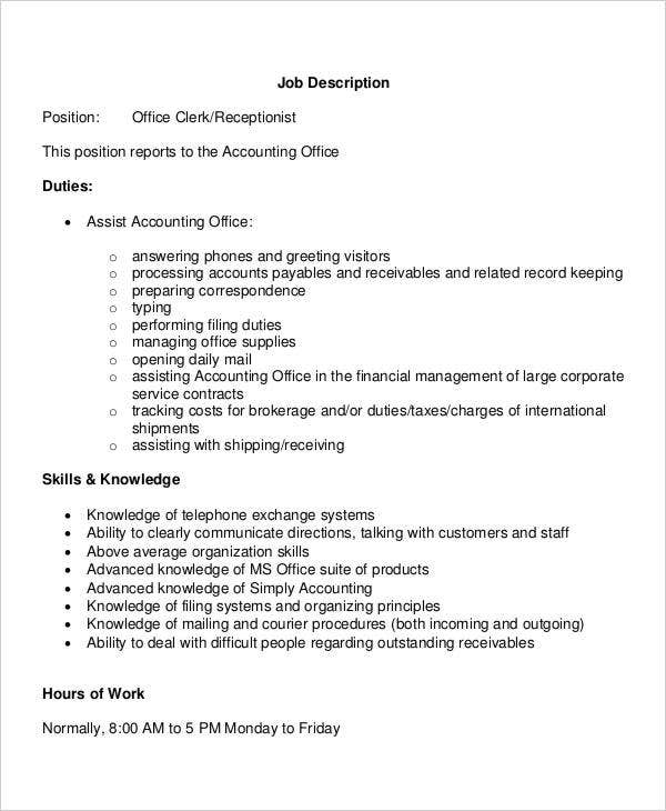 Job Description Position Office Clerk Receptionist Template in PDF