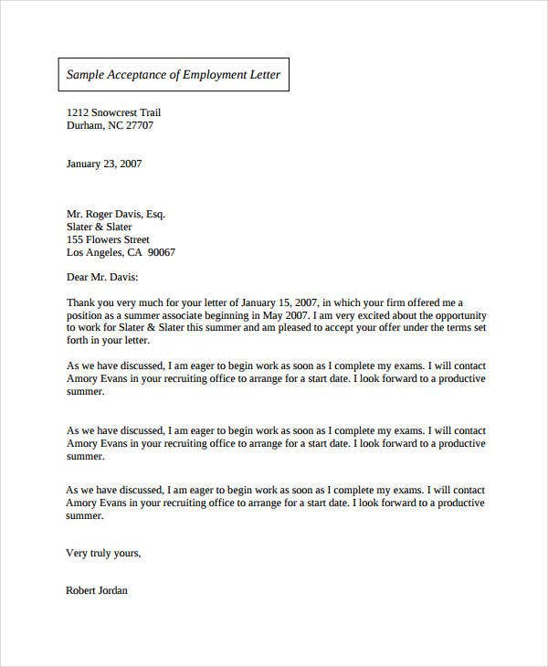 job offer acceptance confirmation letter