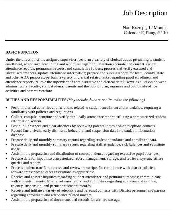 Office Clerk Attendance Job Description Template Download