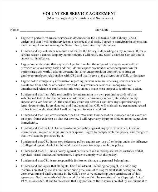 Volunteer Services Agreement Template