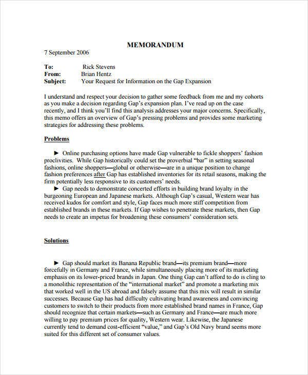 Business Memo Format   Free Sample Example Format  Free