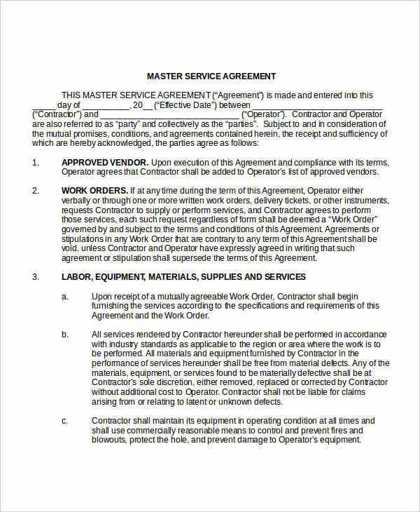 Service Agreement Template 10 Free Word PDF Documents Download – Sample Master Service Agreement