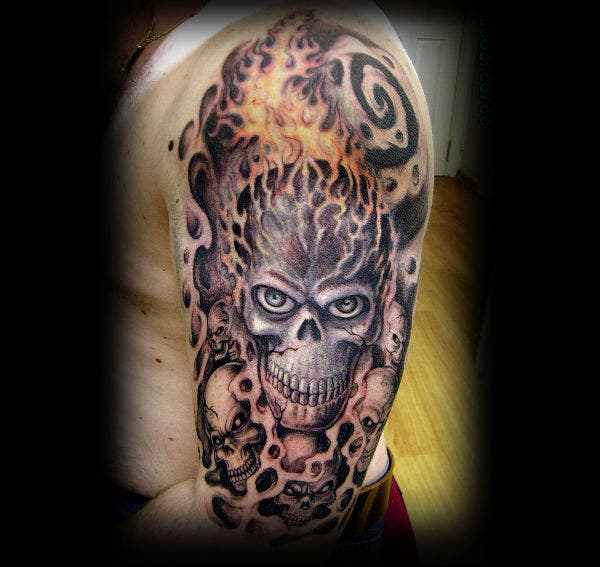 skull tattoo design on arm