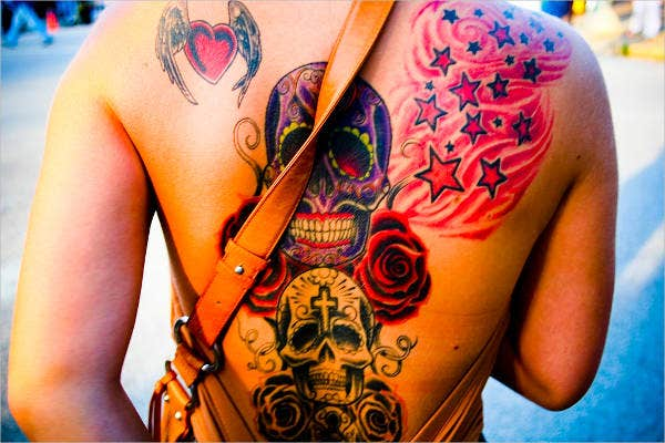 love skull tattoo design