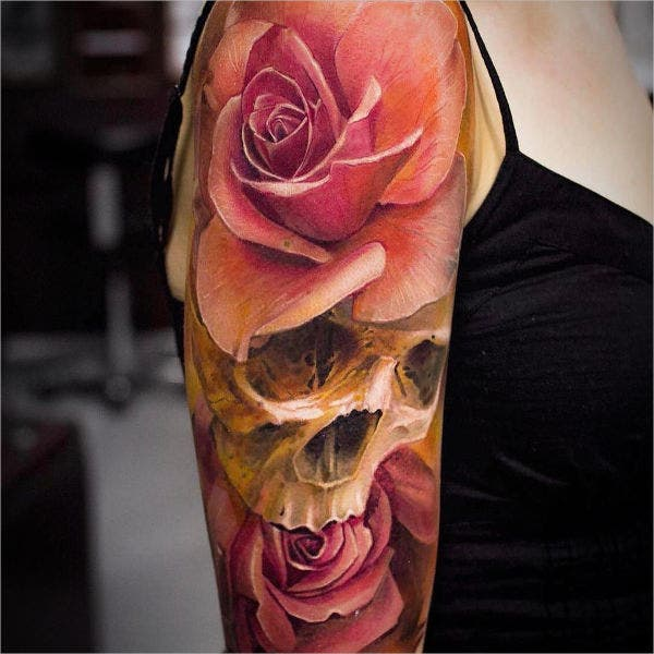 3d skull face tattoo design