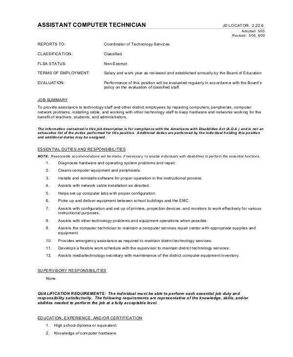 Assistant Computer Technician Job Description