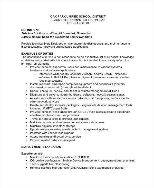 Computer Support Technician Job Description