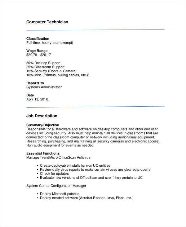 computer technician job description sample - Hardware Technician Jobs