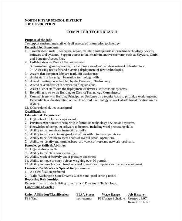 School Computer Technician Job Description