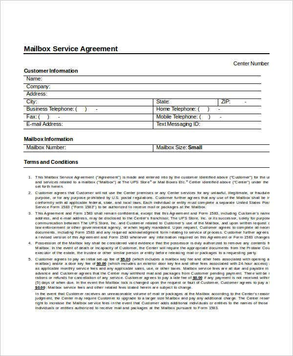 Mailbox Service Agreement Template
