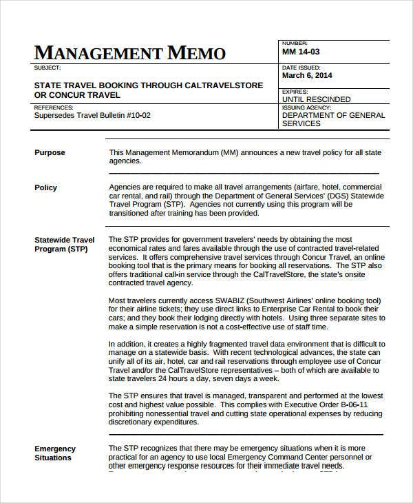 sample of business memos