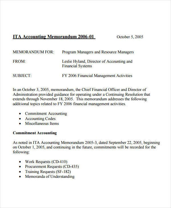 Accounting Business Memo Format