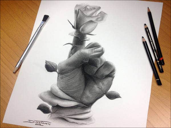 Hand & Flower Pencil Drawing