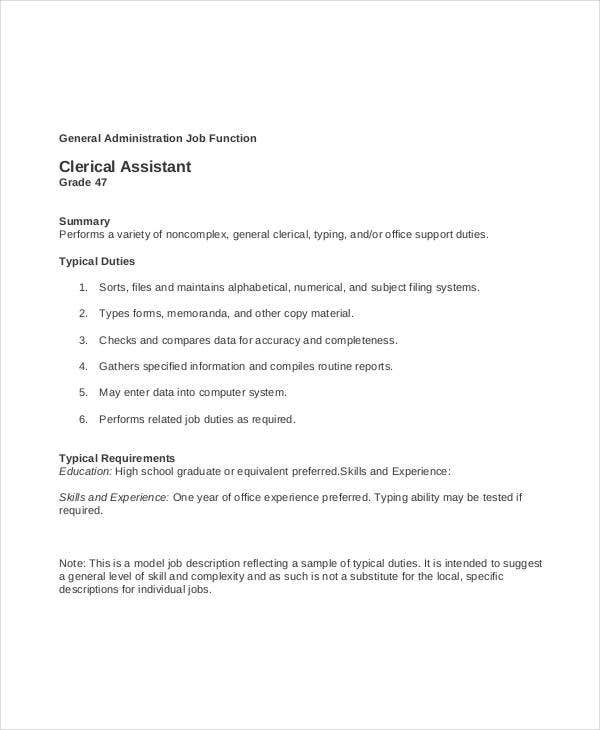 Amazing Clerical Assistant Job Description Inside Clerical Duties