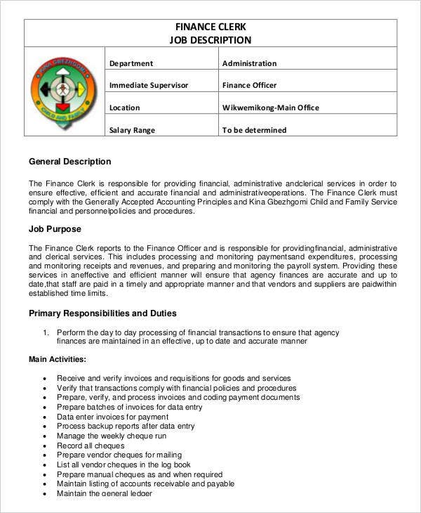 Clerk Job Description   Free Word Pdf Documents Download
