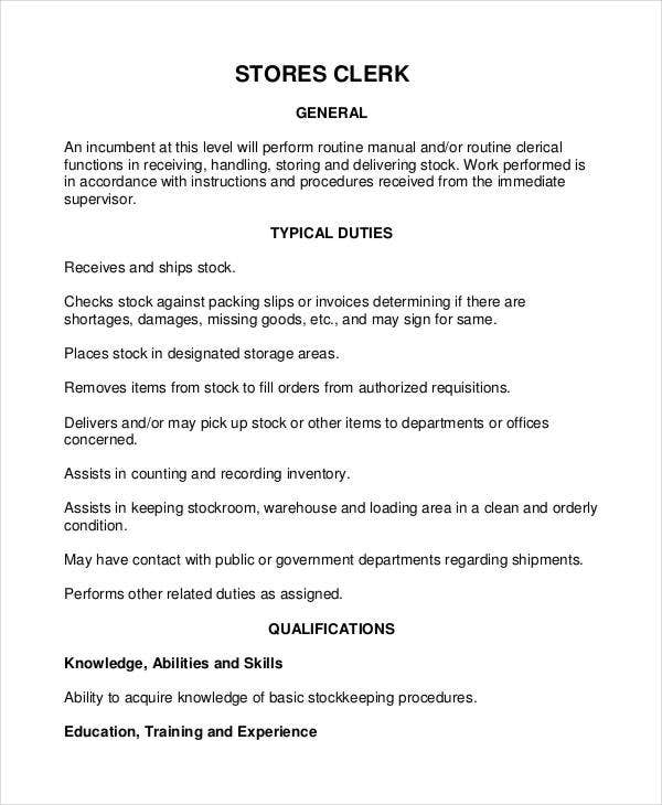 Stores Clerk Job Description  Clerical Job Description