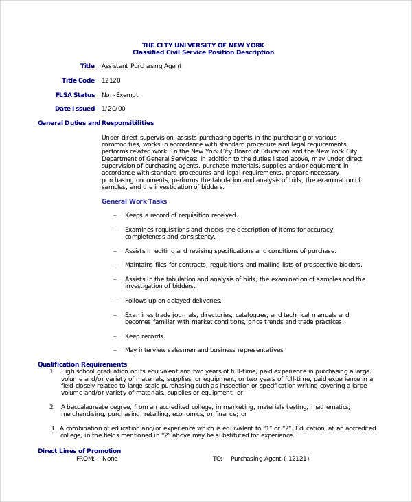 Purchasing Agent Job Description 9 Free PDF Word Documents – Purchasing Agent Job Description