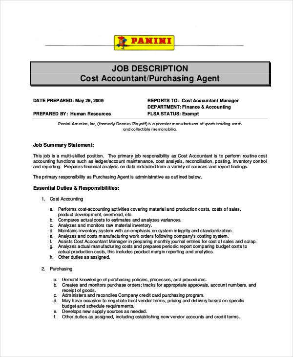 Purchasing Agent Job Description   Free  Word Documents