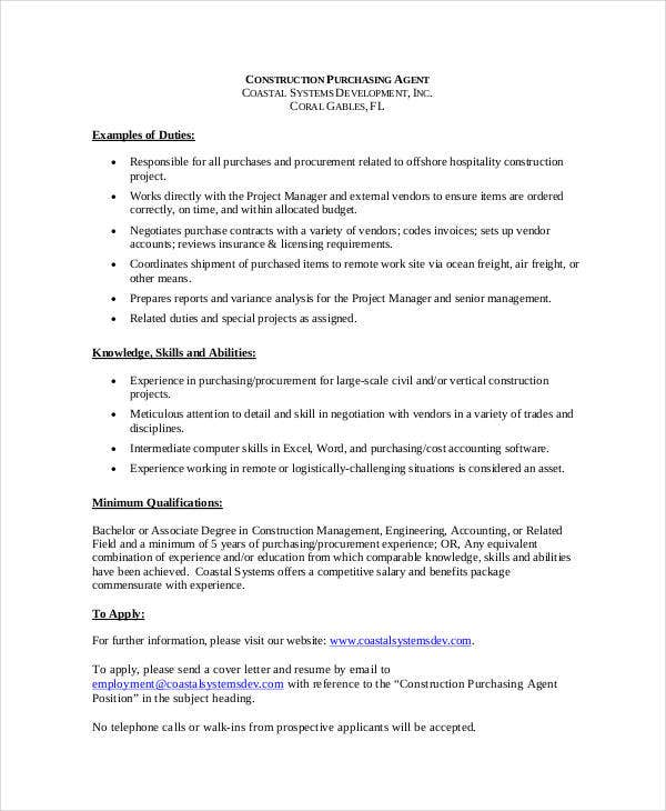Purchasing Agent Job Description 9 Free PDF Word Documents – Construction Manager Job Description