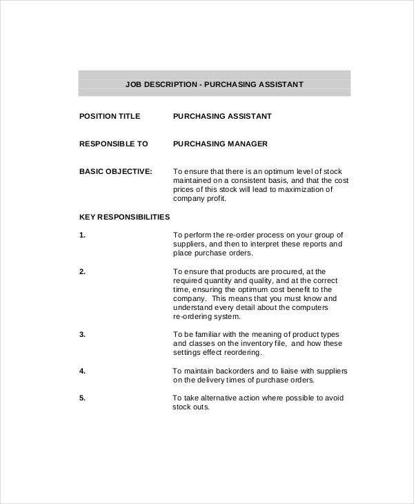 Purchasing Agent Job Description   Free Pdf Word Documents