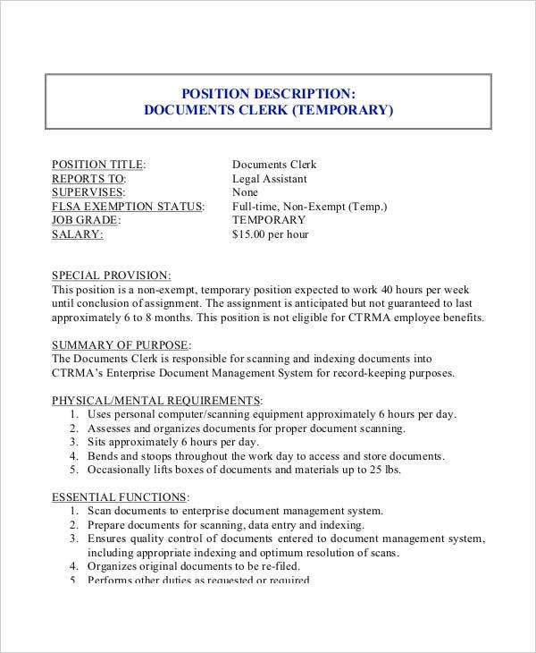 Clerk Job Description 11 Free Word PDF Documents Download – Quality Control Job Description