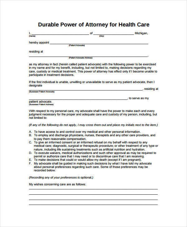 9 Medical Power Of Attorney Forms Free Sample Example Format – Sample Durable Power of Attorney Form