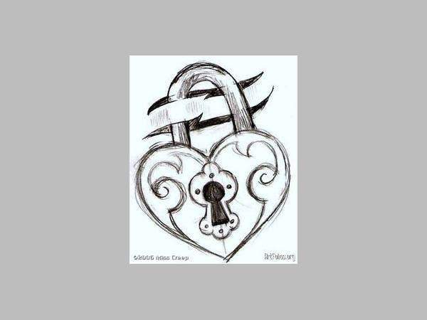 Lock Heart Drawing
