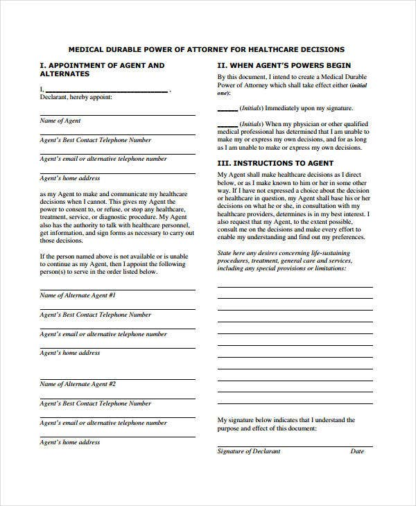 Medical Power Of Attorney Forms  Free Sample Example Format