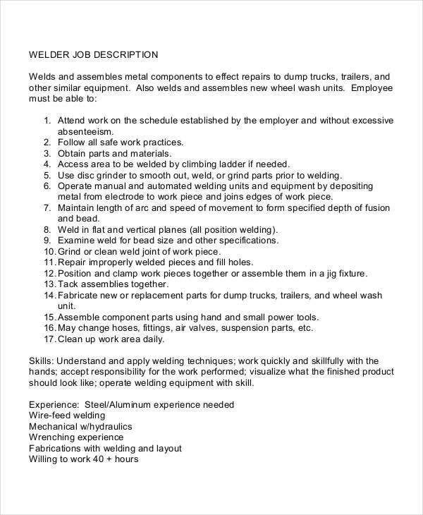 Welder job description 10 free word pdf documents for Detailed job description template