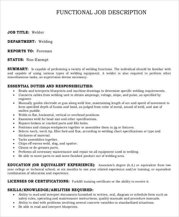 Functional Welder Job Description Template