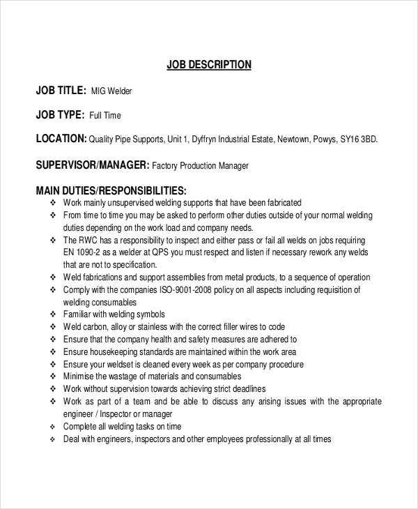 Welder Job Description - 10+ Free Word, Pdf Documents Download