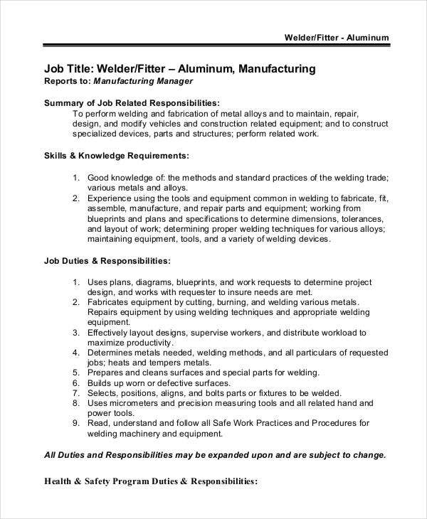 aluminium welder job description template description of a welder