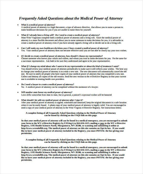 Basic Medical Power Of Attorney Form