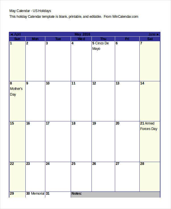 printable blank calendar with holidays