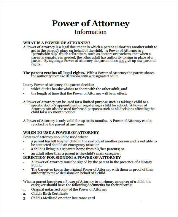 Child Medical Power Of Attorney Form
