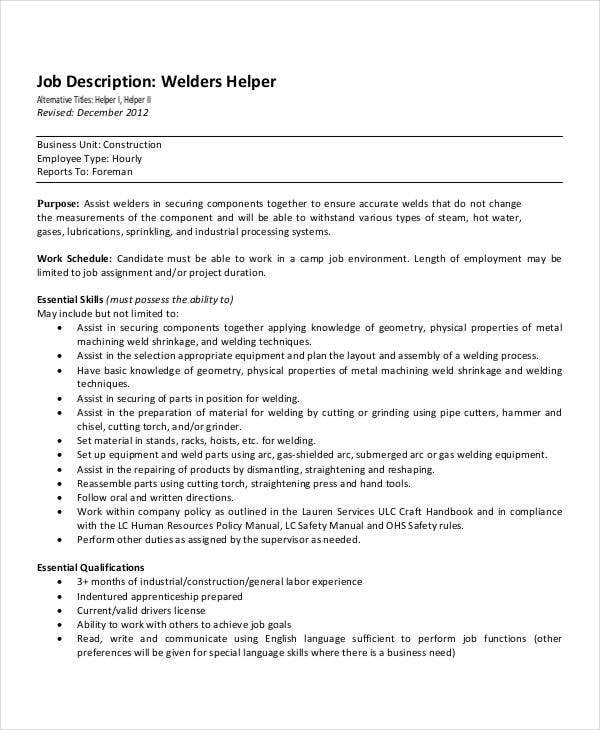 welder helper job description template