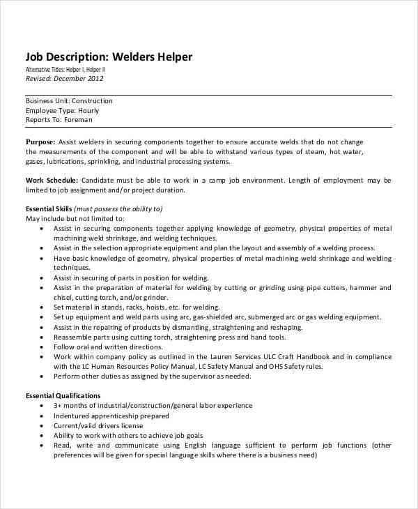 structural welder job description