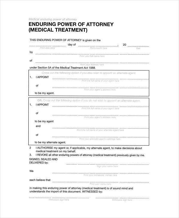 9 Medical Power Of Attorney Forms Free Sample Example Format