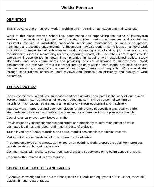 Welder Foreman Job Description Template