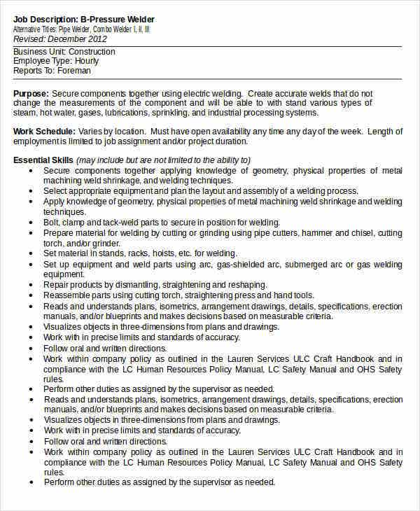b pressure welder job description template