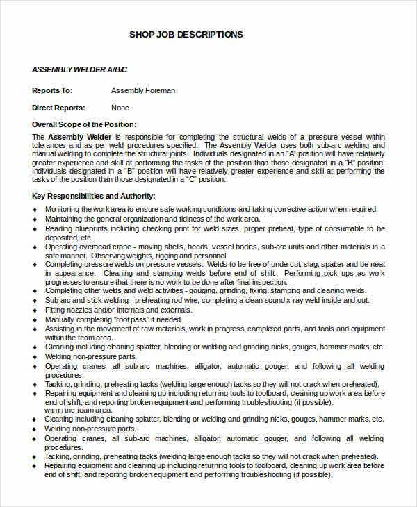 Assembly Welder Job Description Template