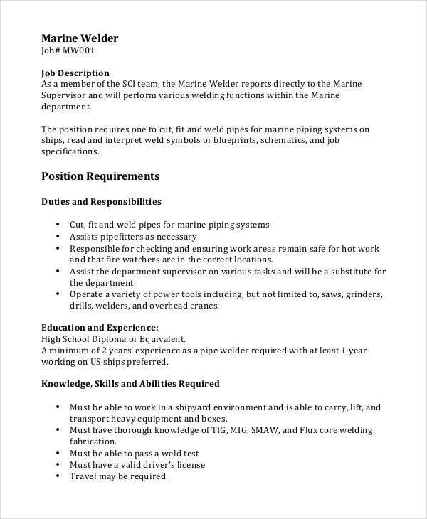 Welder Job Description - 10+ Free Word, PDF Documents