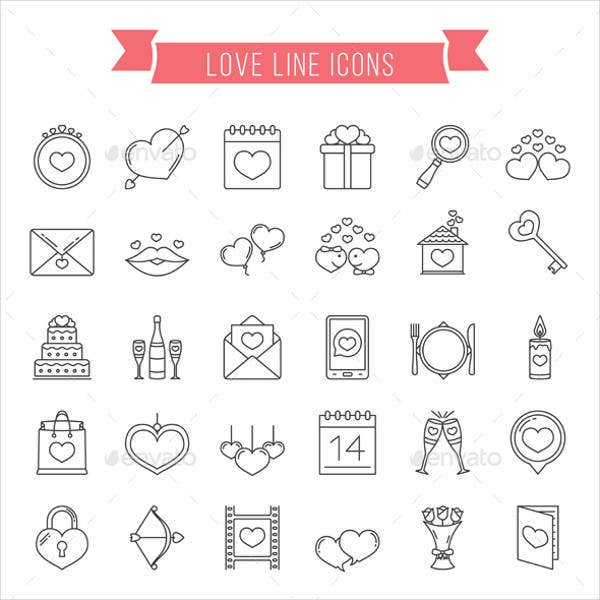 Flat Love Line Icons