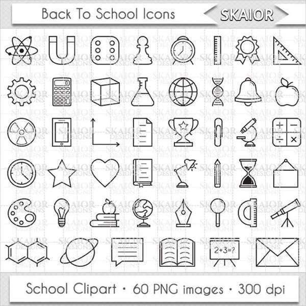 School Clip Art Line Icons
