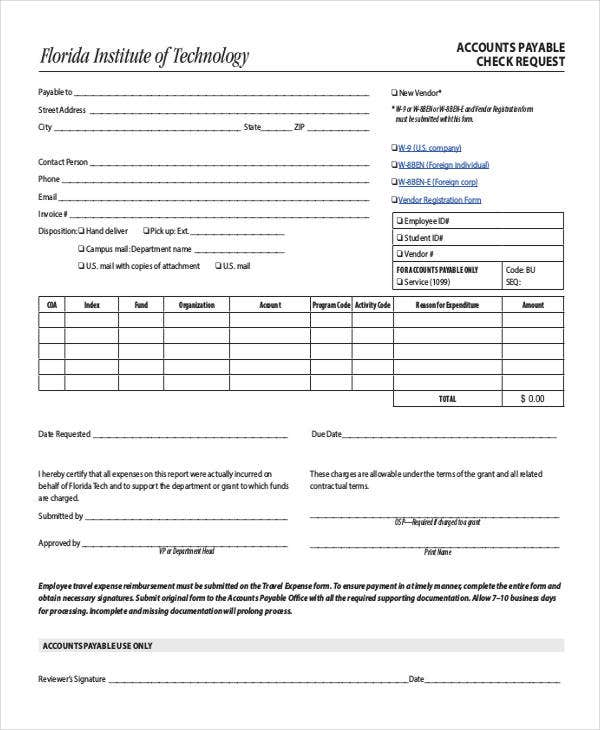 Check Payment Request Form