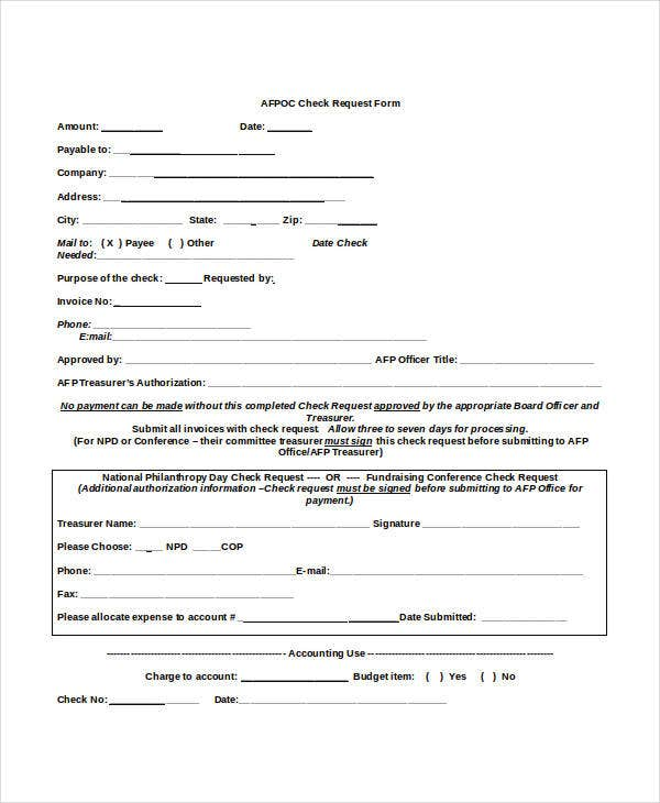 AFP Check Request Form
